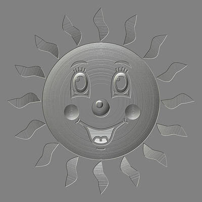 Happy Sun Metal Relief Poster