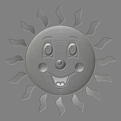 Happy Sun Metal Relief Poster by Miroslav Nemecek