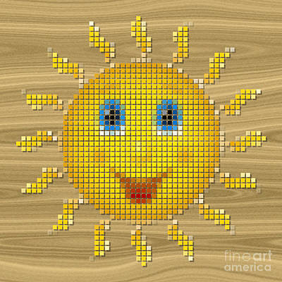 Happy Sun Pixelated Poster