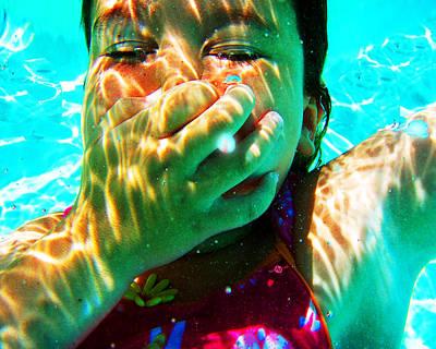 Happy Under Water Pool Girl Horizontal Poster by Tony Rubino