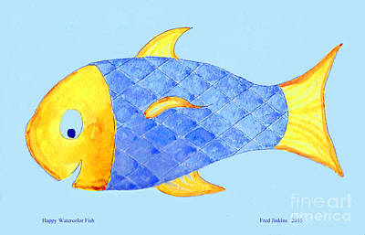 Happy Watercolor Fish Poster