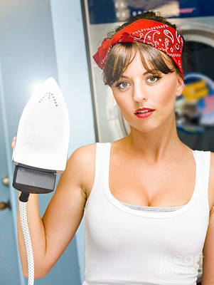 Happy Young Pretty Woman Ironing Poster by Jorgo Photography - Wall Art Gallery