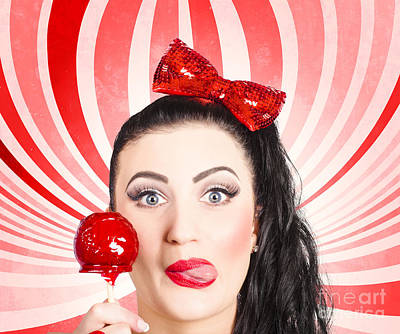 Happy Young Retro Woman With Lollipop Toffee Apple Poster