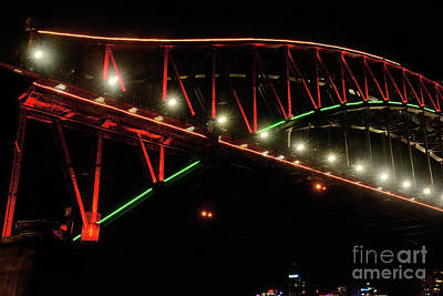 Poster featuring the photograph Harbor Bridge Green And Red By Kaye Menner by Kaye Menner