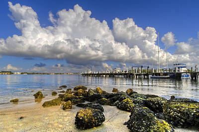 Harbor Clouds At Boynton Beach Inlet Poster by Debra and Dave Vanderlaan