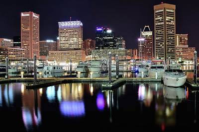 Harbor Nights In Baltimore Poster by Frozen in Time Fine Art Photography