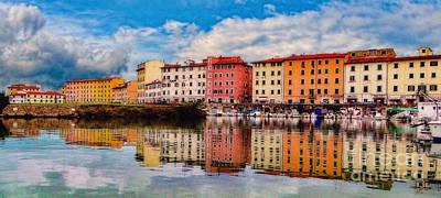 Harbor Reflections In Panoramic Poster by Sue Melvin