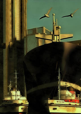 Harbor With Towboats Poster