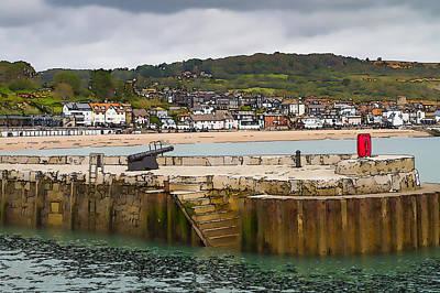 Harbour Wall Lyme Regis Dorset With Canon England Jurassic Coast Artistic Illustration Cartoon  Poster