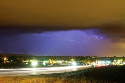 Hard Rain  Lightning Thunderstorm Over Loveland Colorado Poster