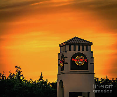 Hard Rock Cafe At Sunset Poster by Claudia M Photography