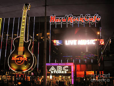 Hard Rock Cafe Las Vegas Strip At Night Poster by RicardMN Photography