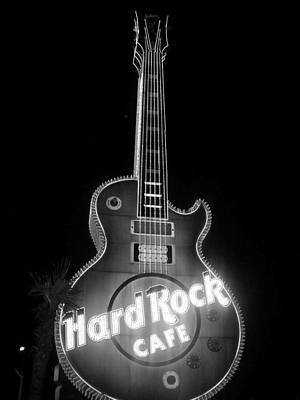Hard Rock Cafe Sign B-w Poster