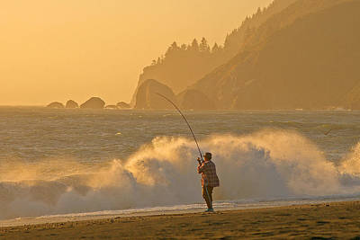 Hardy Fisherman On The California Coast Poster by Ulrich Burkhalter
