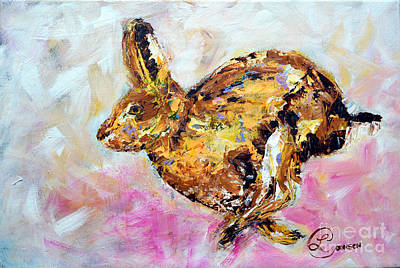 Haring Hare Poster by Lynda Cookson