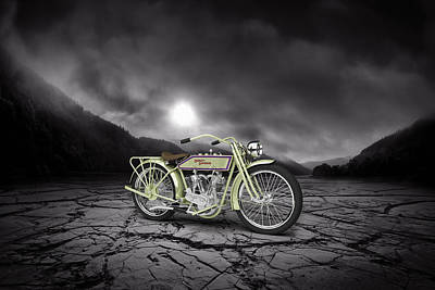 Harley Davidson 11j 1915 Mountains Poster by Aged Pixel