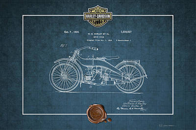 Poster featuring the digital art Harley-davidson 1924 Vintage Patent Blueprint  by Serge Averbukh
