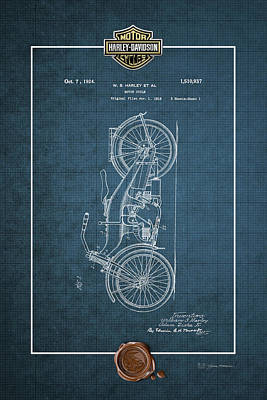 Poster featuring the digital art Harley-davidson 1924 Vintage Patent Blueprint With 3d Badge by Serge Averbukh
