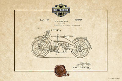 Poster featuring the digital art Harley-davidson 1924 Vintage Patent Document  by Serge Averbukh