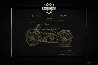Poster featuring the digital art Harley-davidson 1924 Vintage Patent In Gold On Black by Serge Averbukh