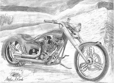 Harley-davidson Custom 2 Motorcycle Art Print Poster by Stephen Rooks