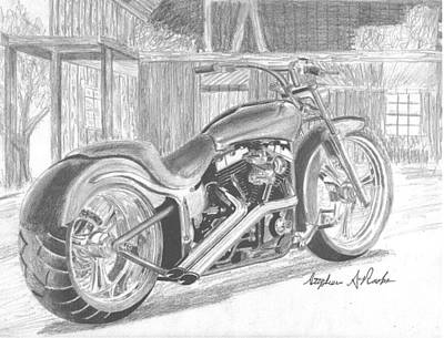 Harley-davidson Custom Motorcycle Art Print Poster by Stephen Rooks