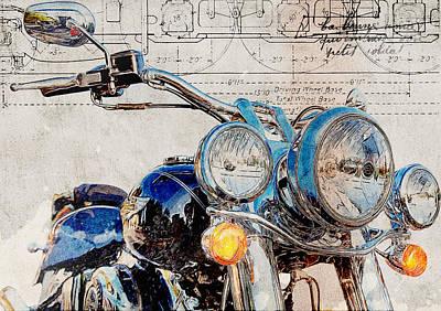 Harley Davidson Flstn Softail Deluxe Poster by Yurdaer Bes
