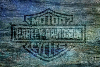 Harley Davidson Logo Weathered Wood Poster by Randy Steele