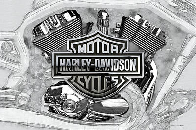 Poster featuring the digital art Harley-davidson Motorcycle Engine Detail With 3d Badge  by Serge Averbukh
