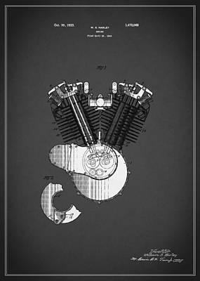 Harley Davidson Motorcycle Patent 1923 Poster by Mark Rogan