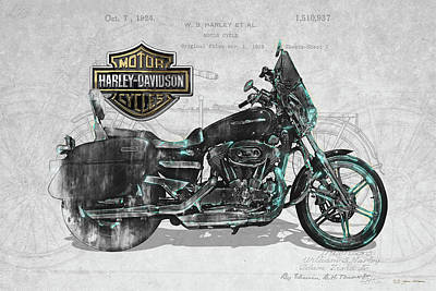 Poster featuring the digital art Harley-davidson Motorcycle With 3d Badge Over Vintage Patent by Serge Averbukh