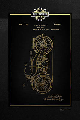Poster featuring the digital art Harley-davidson Vintage 1924 Patent In Gold With 3d Badge On Black by Serge Averbukh