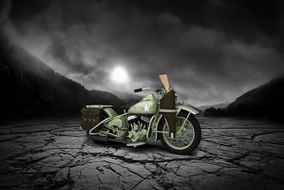 Harley Davidson Wla 1942 Mountains Poster