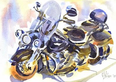 Motorcycle In Watercolor Poster by Kip DeVore