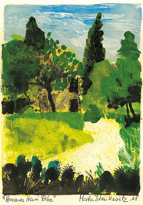 Poster featuring the painting Harmas Henri Fabre Provence Garden by Martin Stankewitz