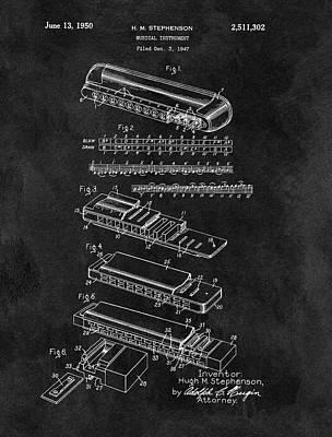Harmonica Patent Blueprint Poster