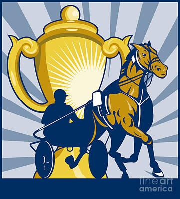 Harness Cart Horse Racing Poster by Aloysius Patrimonio