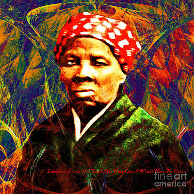 Harriet Tubman Underground Railroad In Abstract 20160422 Square With Text Poster