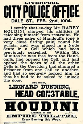 Harry Houdini Police Statement, 1904 Poster