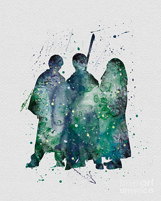 Harry Ronald And Hermione Watercolor  Poster