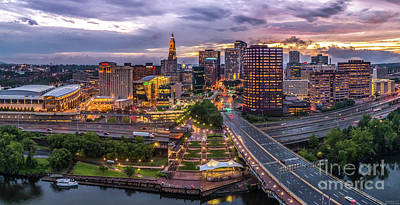 Hartford Ct Riverside And Downtown Twilight Aerial Panorama Poster