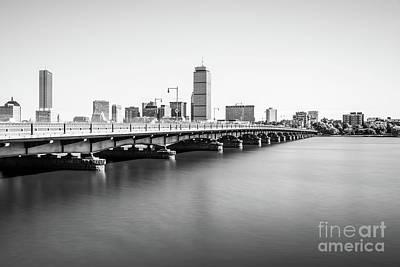 Harvard Bridge Boston Skyline Black And White Photo Poster by Paul Velgos