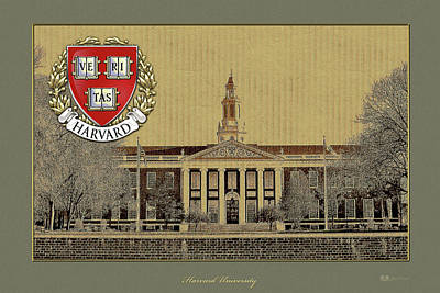 Harvard University Building Overlaid With 3d Coat Of Arms Poster