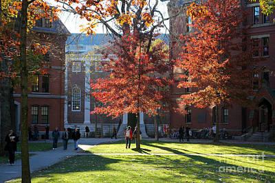 Harvard Yard Lehman Hall In Fall Poster
