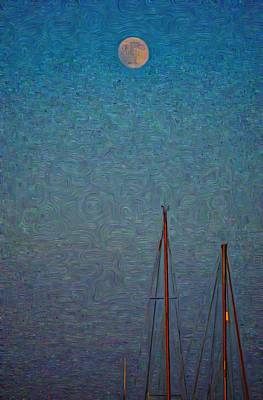 Harvest Full Moon With Boat Masts Poster