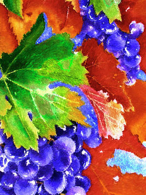 Harvest Grapes - Impressionist Digital Painting Poster by Rayanda Arts