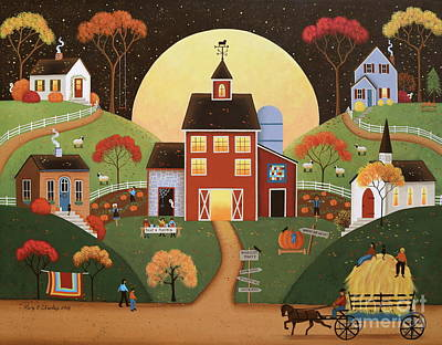 Harvest Hayride Poster by Mary Charles