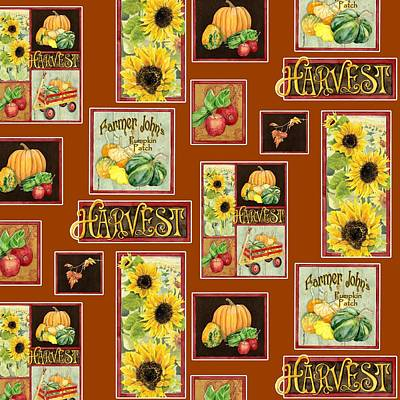 Harvest Market Pumpkins Sunflowers N Red Wagon Poster by Audrey Jeanne Roberts