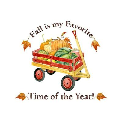 Harvest Red Wagon Pumpkins N Leaves Poster by Audrey Jeanne Roberts