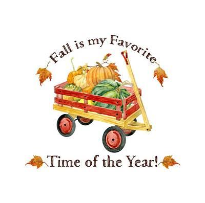 Harvest Red Wagon Pumpkins N Leaves Poster
